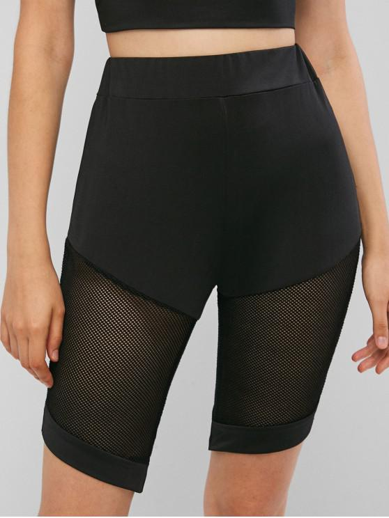 women Solid Mesh Panel Biker Shorts - BLACK S
