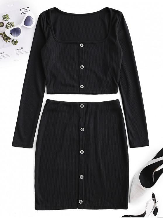 Vestido de dos piezas acanalado con botones recortados - Negro S