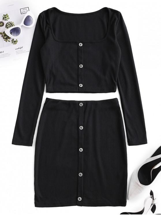 womens Cropped Buttoned Ribbed Two Piece Dress - BLACK L