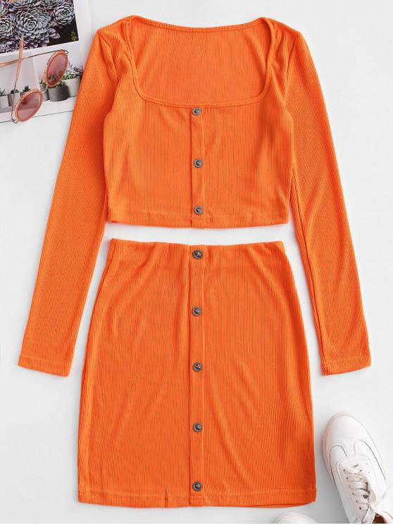 chic Neon Cropped Buttoned Ribbed Two Piece Dress - ORANGE M