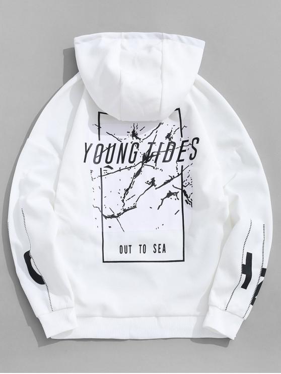 shop Young Tides Letter Graphic Disty Print Drop Shoulder Hoodie - WHITE M