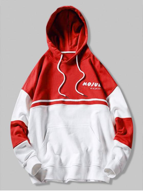 online Color Block Letter Print Splicing Kangaroo Pocket Hoodie - LAVA RED M
