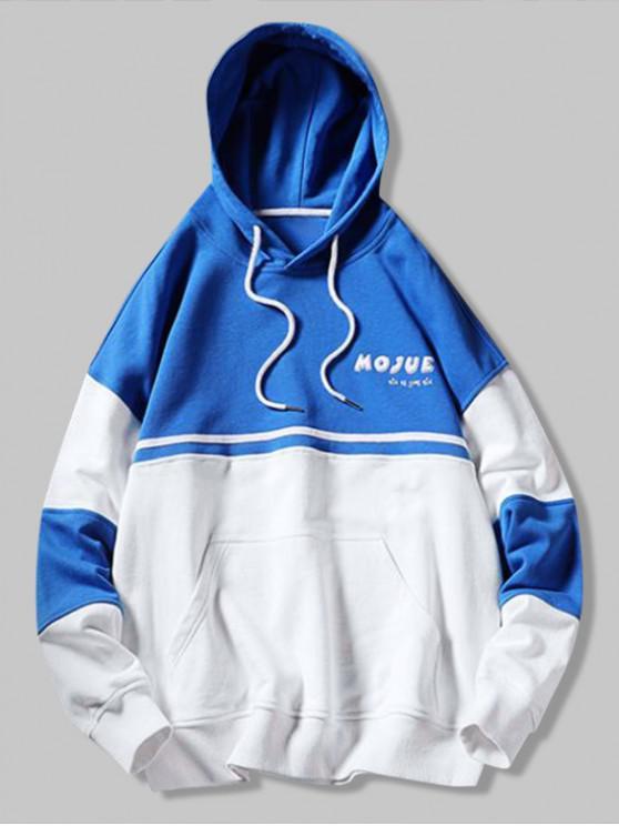 Felpa con cappuccio tascabile color canguro con stampa lettere maiuscole - Blu Mirtillo L