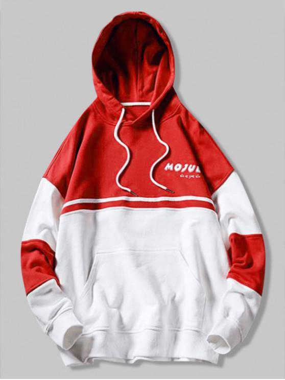 Felpa con cappuccio tascabile color canguro con stampa lettere maiuscole - Rosso Lava  L