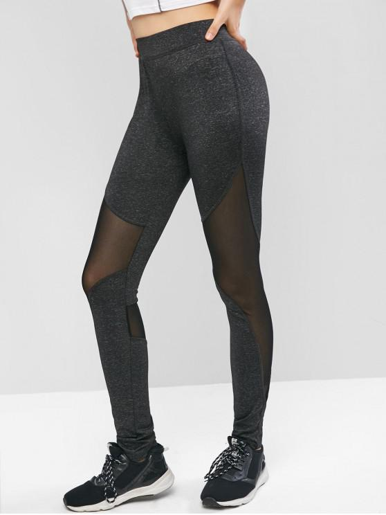latest High Waisted Sheer Mesh Panel Sports Leggings - BLACK L
