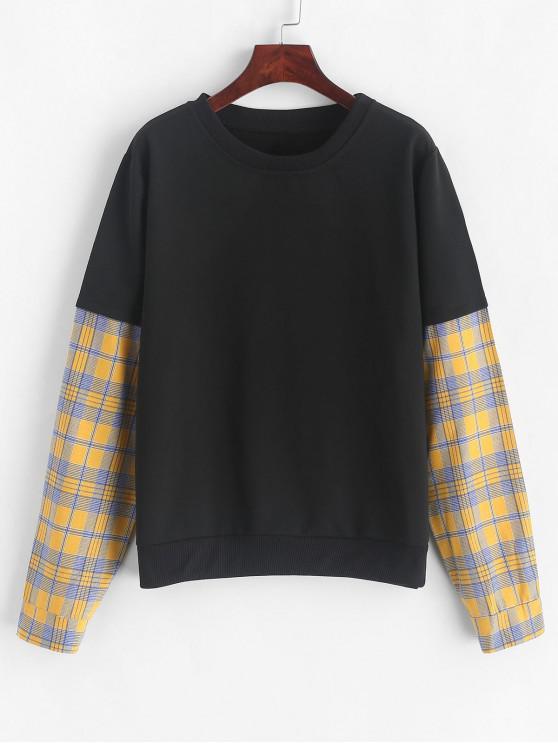 affordable Plaid Patched Crew Neck Loose Sweatshirt - BLACK M