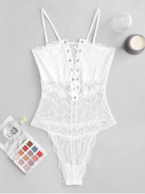 Body Lngerie Festonné en Dentelle à Lacets - Blanc M
