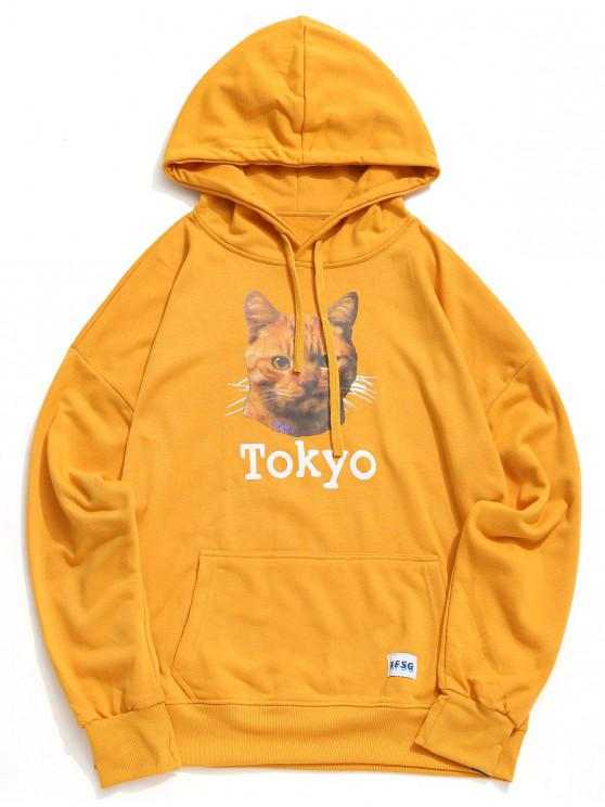 affordable Cat Tokyo Letter Graphic Print Kangaroo Pocket Hoodie - RUBBER DUCKY YELLOW XL