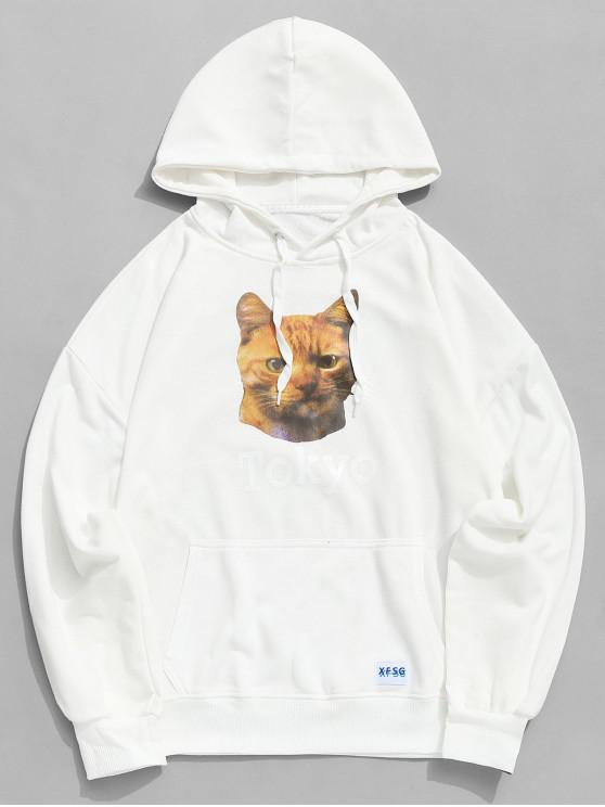 women Cat Tokyo Letter Graphic Print Kangaroo Pocket Hoodie - WHITE XL