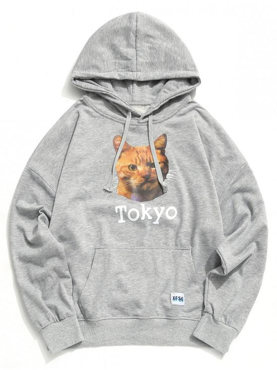 ladies Cat Tokyo Letter Graphic Print Kangaroo Pocket Hoodie - GRAY CLOUD 2XL