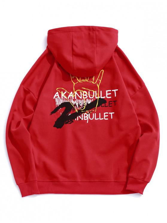 latest Palm Letter Painting Print Drop Shoulder Hoodie - LAVA RED 2XL