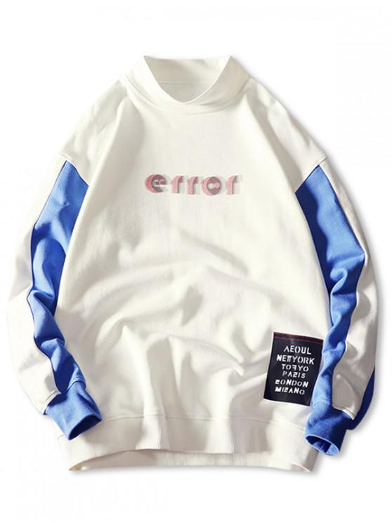outfit Error Letter Graphic Print Color Block Splicing Sweatshirt - WHITE L