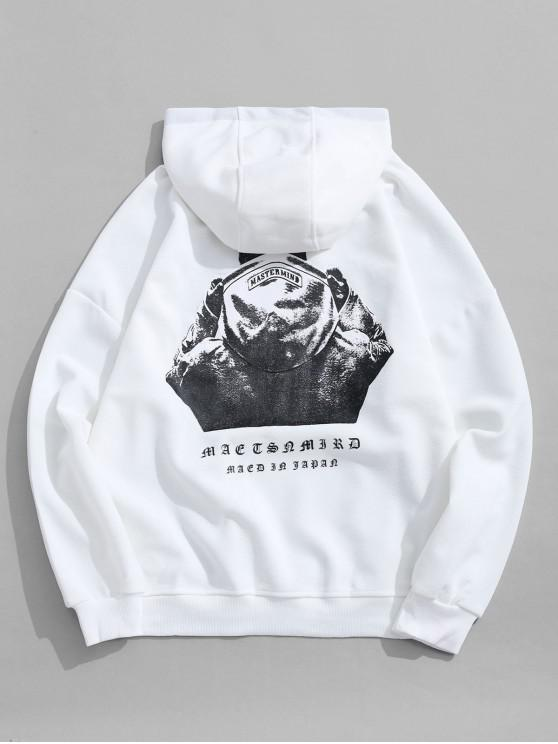 shop Hooded Men Sign Letter Embroidery Graphic Print Hoodie - WHITE 2XL