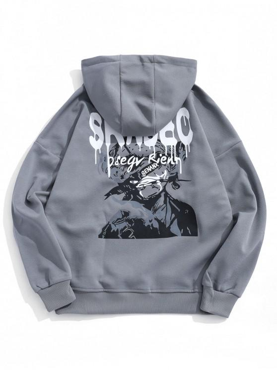 fashion Letter Graphic Print Drop Shoulder Casual Hoodie - SLATE GRAY 2XL