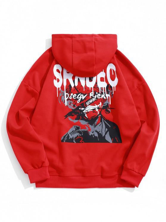 chic Letter Graphic Print Drop Shoulder Casual Hoodie - LAVA RED XL