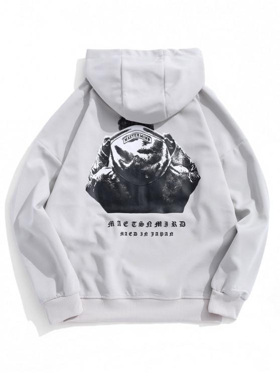 women Hooded Men Sign Letter Embroidery Graphic Print Hoodie - GRAY GOOSE 2XL
