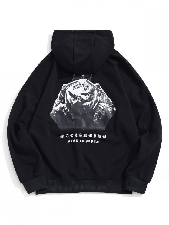 affordable Hooded Men Sign Letter Embroidery Graphic Print Hoodie - BLACK L