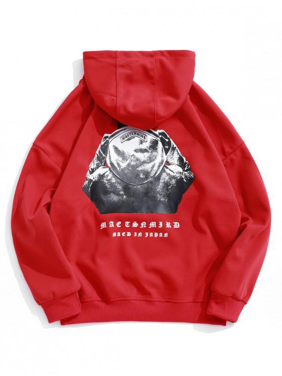 trendy Hooded Men Sign Letter Embroidery Graphic Print Hoodie - LAVA RED 2XL