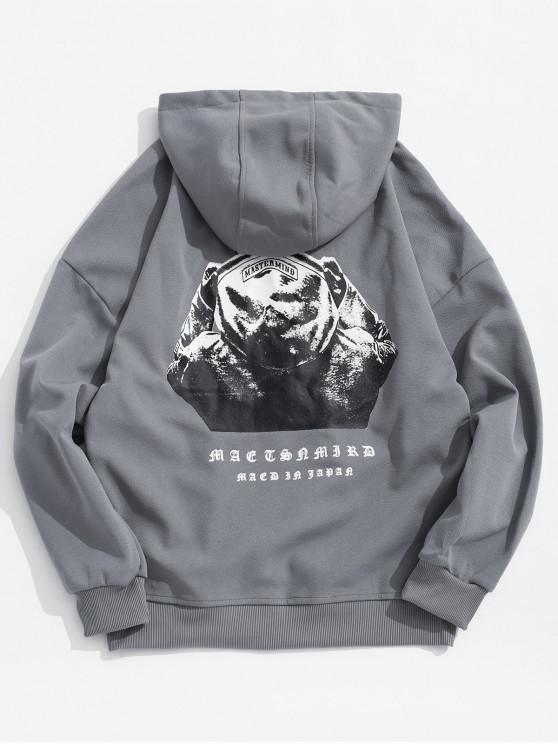 lady Hooded Men Sign Letter Embroidery Graphic Print Hoodie - SLATE GRAY M