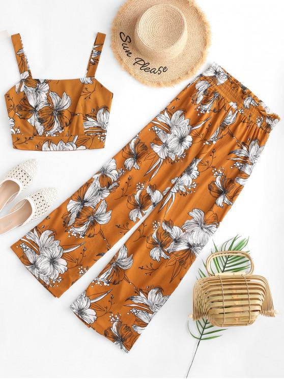 women ZAFUL Cropped Floral Smocked Back Paperbag Pants Set - BEE YELLOW M