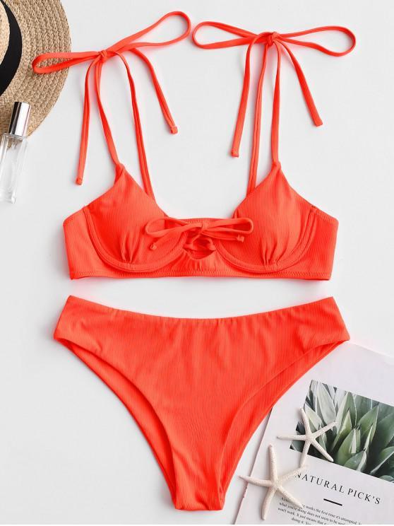 Bañador de bikini con aros y lazo acanalado ZAFUL - Naranja L