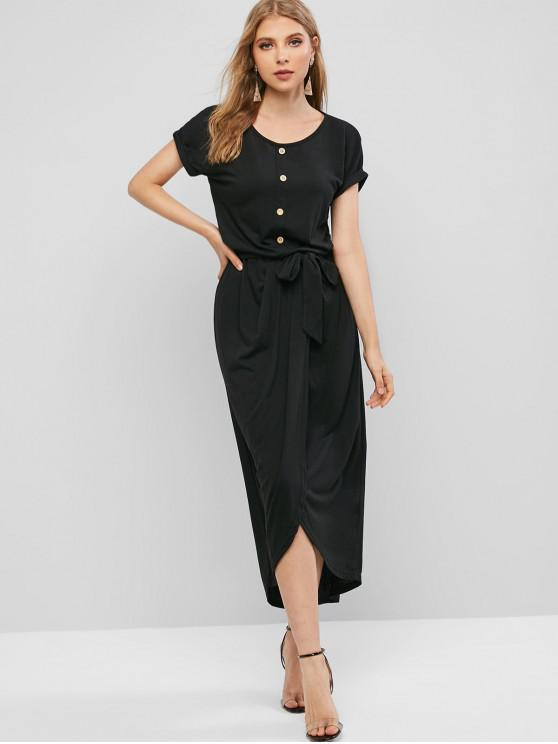 buy Buttons Belted Overlap Maxi Dress - BLACK M