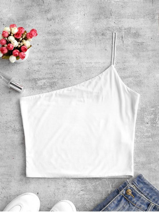 online ZAFUL Plain One Shoulder Crop Cami Top - WHITE S