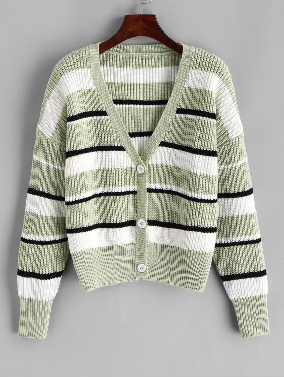 best ZAFUL V Neck Color Block Stripes Button Up Cardigan - DARK SEA GREEN M