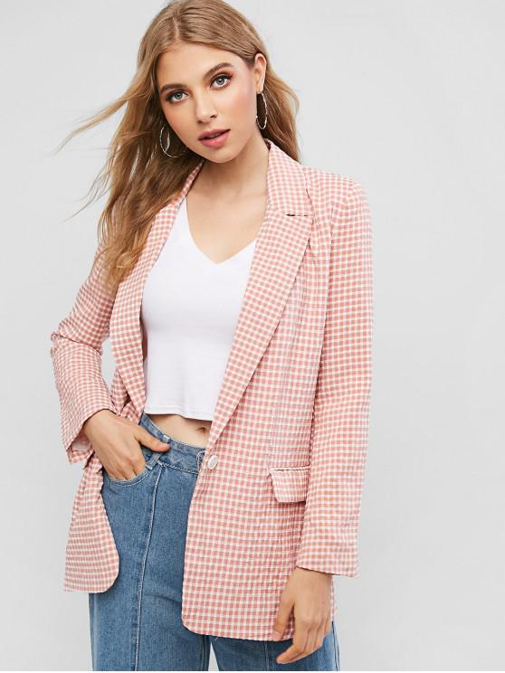 hot One Buttoned Flap Pockets Gingham Blazer - PINK S