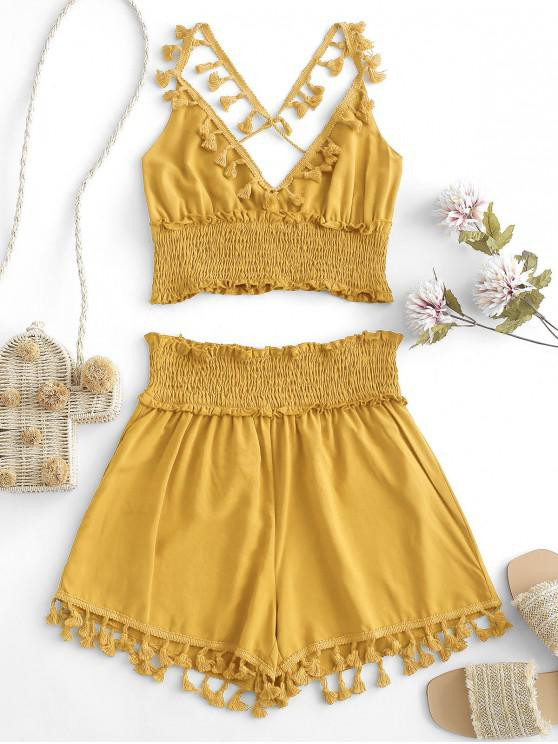 ladies ZAFUL Tassels Smocked Solid Two Pieces Suit - YELLOW M