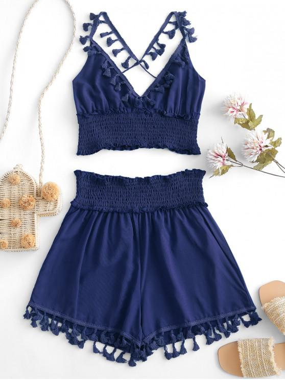 fashion ZAFUL Tassels Smocked Solid Two Pieces Suit - DEEP BLUE S