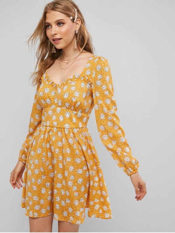women's ZAFUL Disty Print Frilled A Line Dress - SUN YELLOW XL