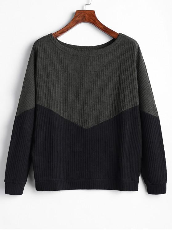 hot Batwing Two Tone Knitted Sweater - MULTI-B L