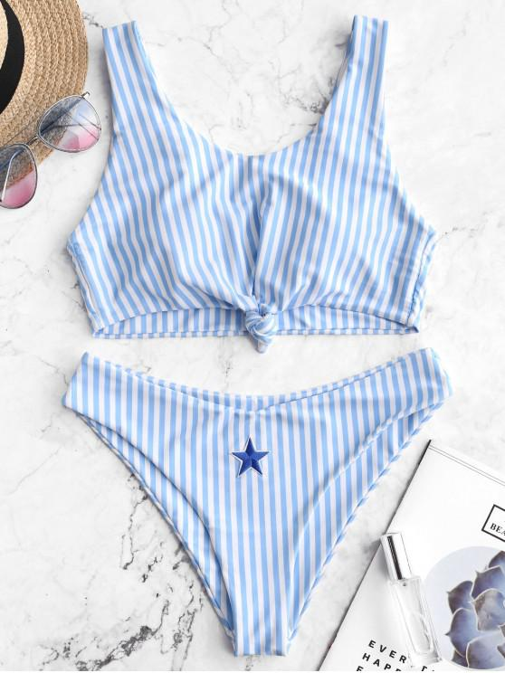 fashion ZAFUL Knot Star Patch Striped Bikini Swimsuit - DAY SKY BLUE M