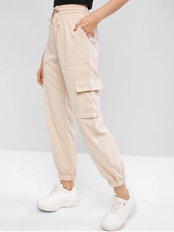women's High Waisted Flap Pockets Jogger Pants - TAN M