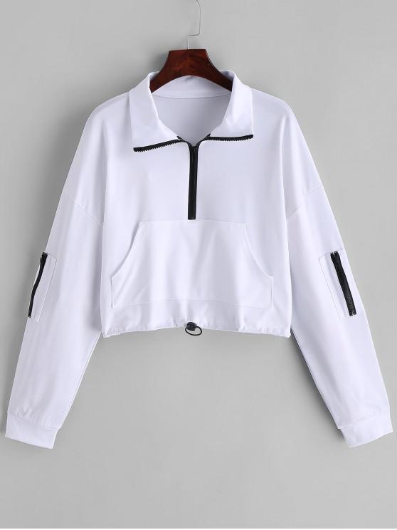 online Cropped Half Zip Front Pocket Sweatshirt - WHITE M