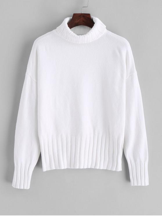 Suéter Suelto Suelto De Cuello Alto - Blanco Talla única