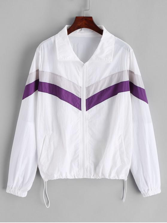 lady Windbreaker Color Block Zip Up Jacket - MULTI S