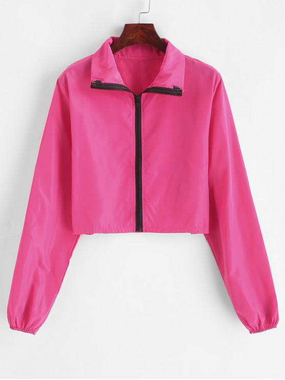 new Cropped Zip Up Windbreaker Jacket - ROSE RED L