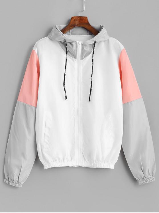 fancy Color Block Sport Drawstring Hooded Windbreaker Jacket - MULTI XL