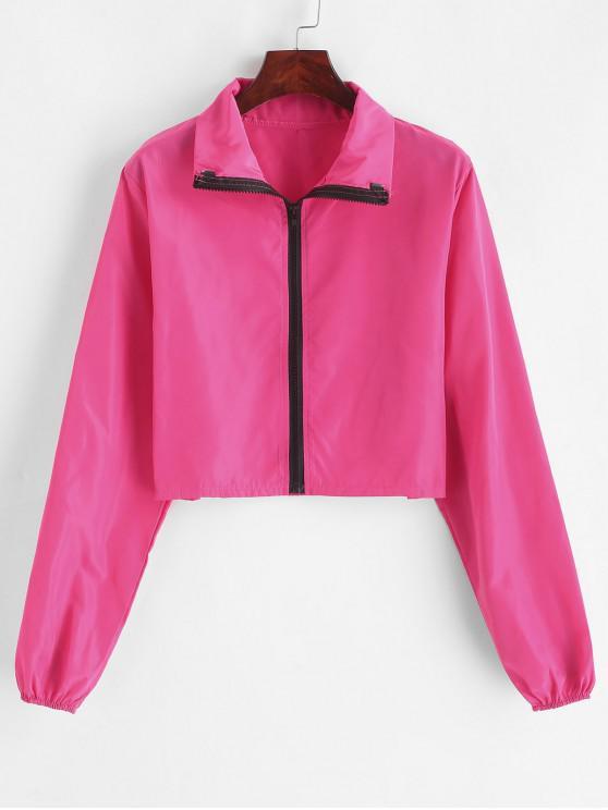 womens Cropped Zip Up Windbreaker Jacket - ROSE RED S