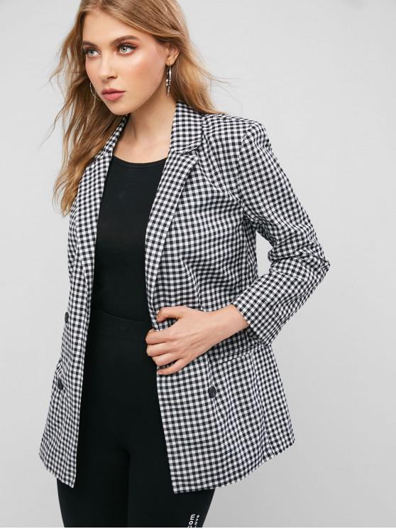 women Faux Pockets Buttoned Gingham Blazer - MULTI-A M