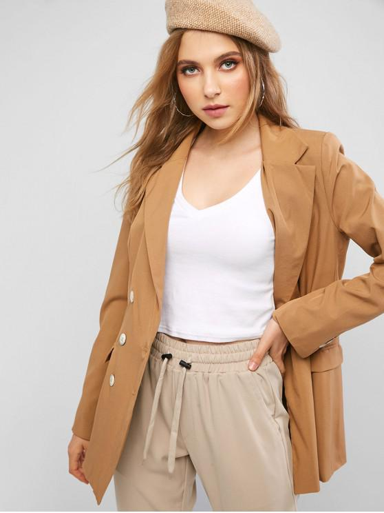 lady Flap Pockets Lapel Double Breasted Blazer - CAMEL BROWN M
