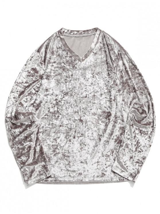 online Solid V Neck Long Sleeve Solid T-shirt - LIGHT GRAY 2XL
