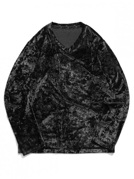 new Solid V Neck Long Sleeve Solid T-shirt - BLACK L