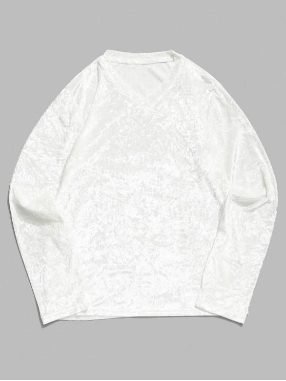 T-shirt Manches Longues en Couleur Unie à Col V - Blanc 2XL