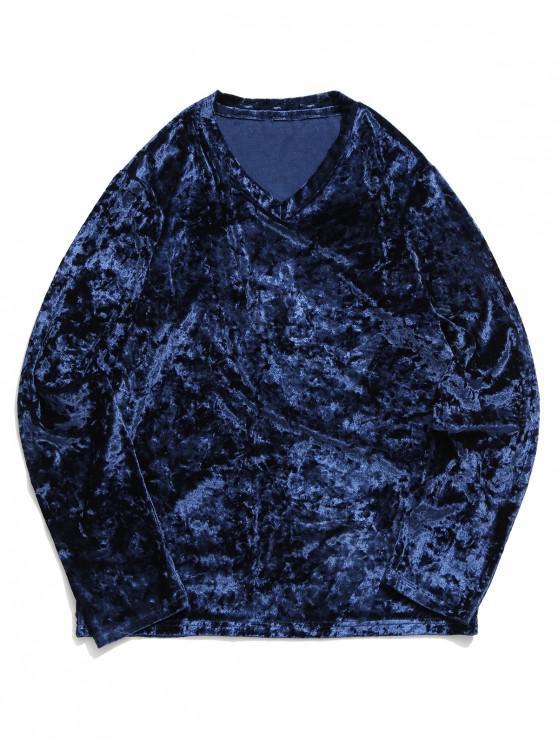 affordable Solid V Neck Long Sleeve Solid T-shirt - BLUEBERRY BLUE L