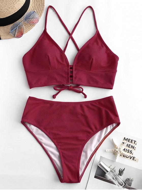 fashion ZAFUL Textured Crisscross High Cut Tankini Swimsuit - RED WINE XL