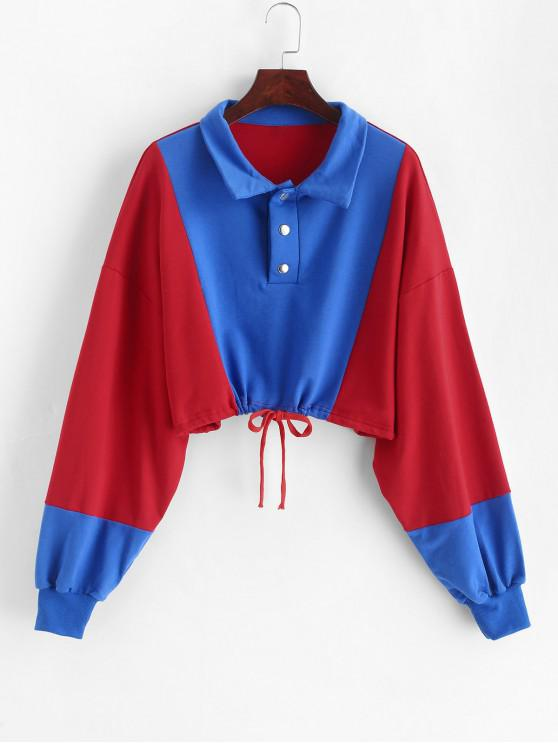 outfit Snap Button Color Block Cropped Sweatshirt - MULTI S