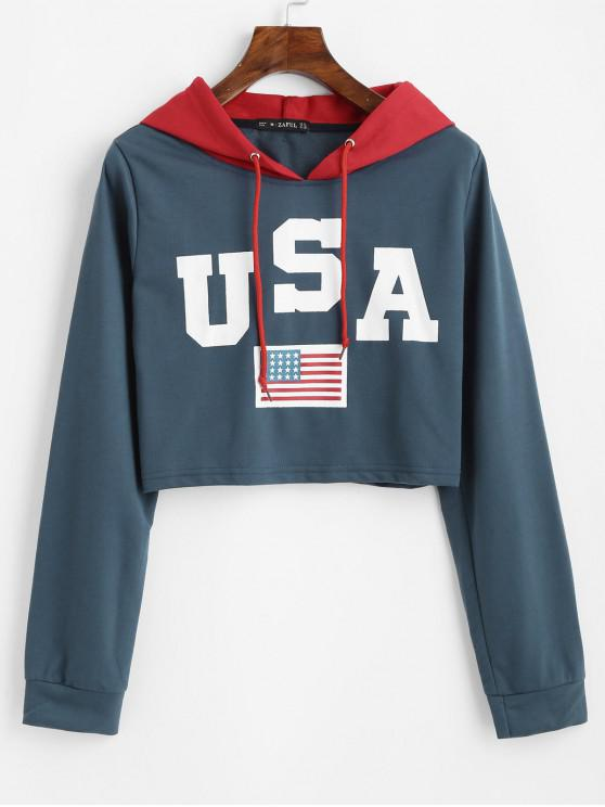 shop Patriotic American Flag Drawstring Crop Hoodie - MIDNIGHT BLUE L